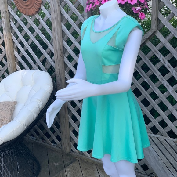 The Vintage Shop Dresses & Skirts - Tiffany blue dress with sheer cutouts